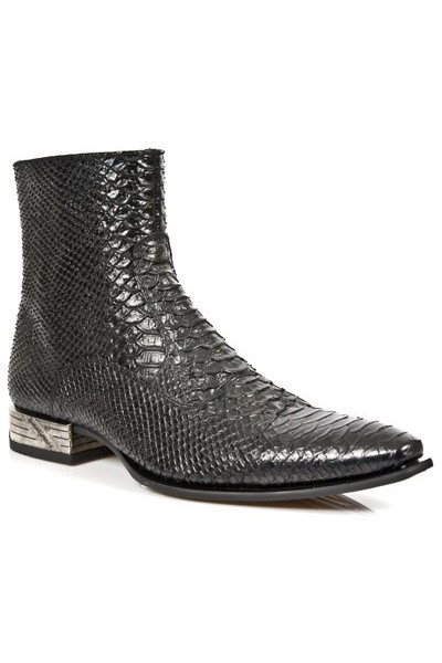 VINTAGE SNAKESKIN BLACK LEATHER ANKLE BOOTS Quality snake leather ...