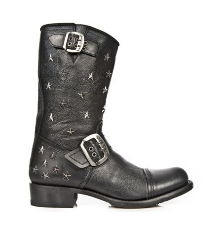 Trendy black leather bike boots