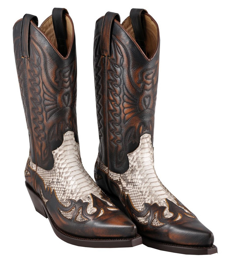 MADE TO MEASURE BROWN SNAKESKIN COWBOY BOOTS FOR MEN Men's brown ...