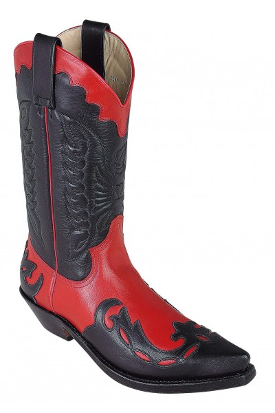 HANDMADE BLACK AND RED COWBOY LEATHER BOOTS Luxurious two-tone ...