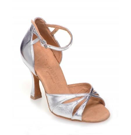 High quality silver leather wedding heels