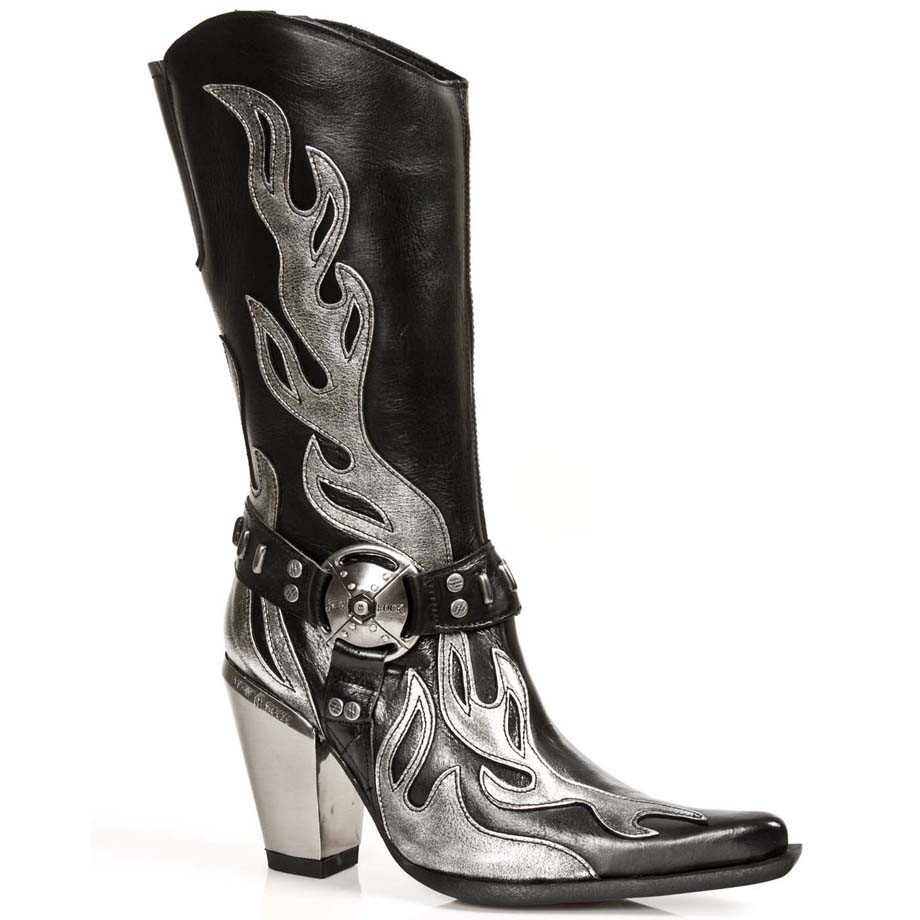 Black leather cowboy boots for women with red flames - ShoesMadeForMe
