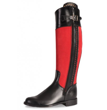 Black and red leather horse riding boots for women