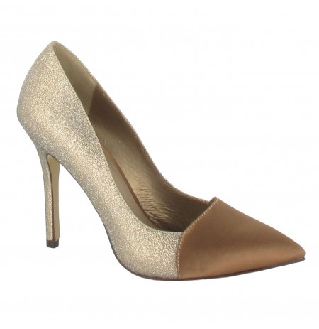 beige and golden high heels shoes made 4 me