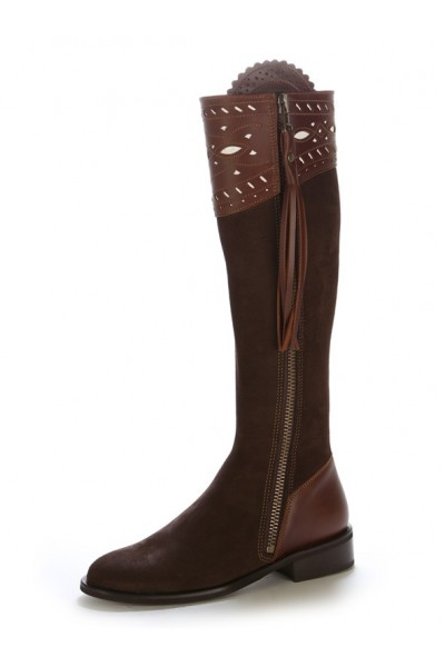 Elegant brown suede leather equestrian boots Chocolate brown ...