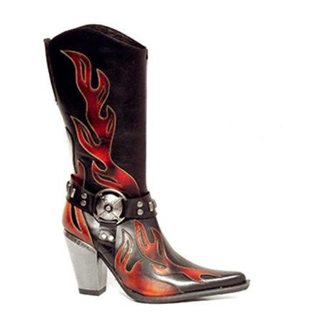 Black leather cowboy boots for women with red flames - Shoes Made 4 Me
