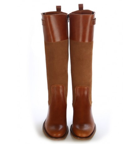 Custom-made camel leather riding boots