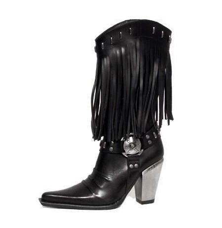 Santiags femme cuir noir et argent flammes