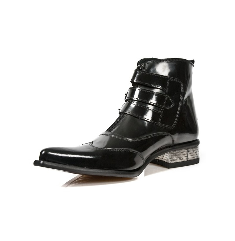 ORIGINAL ROCK ANKLE BOOTS WITH BUCKLES Mens patent leather rock ...