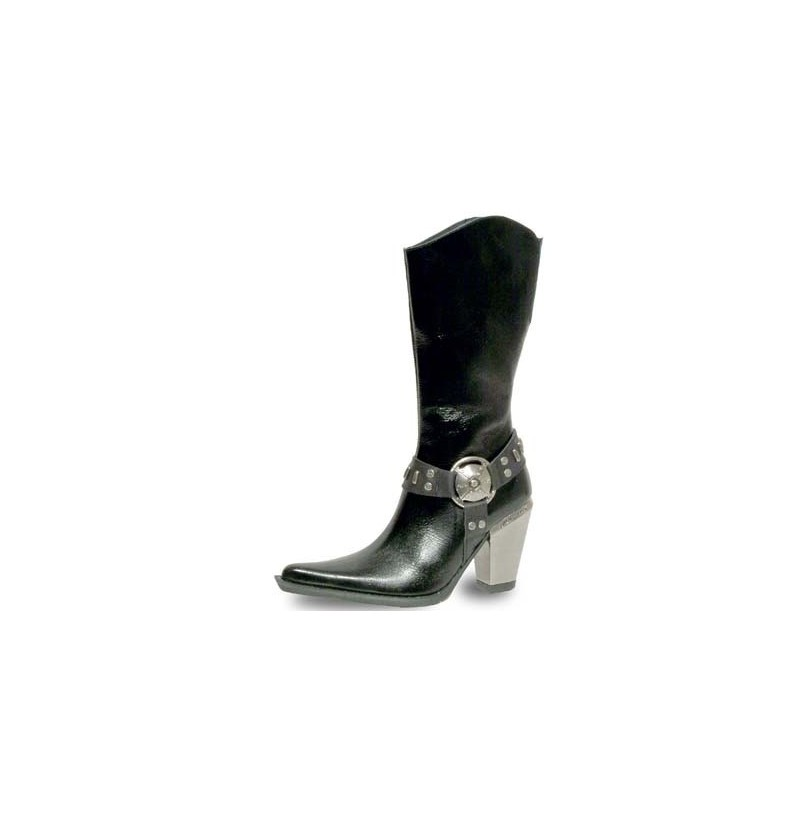 genuine leather rock style western boots in black unique