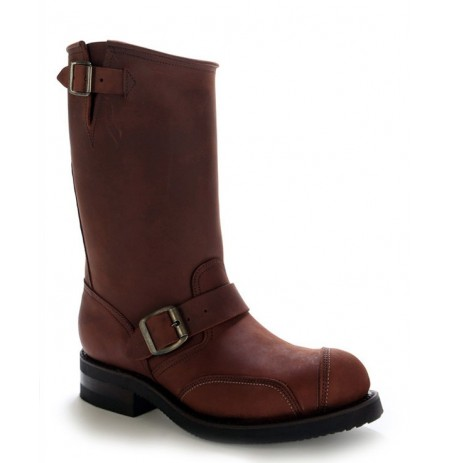 Brown oiled leather bike boots