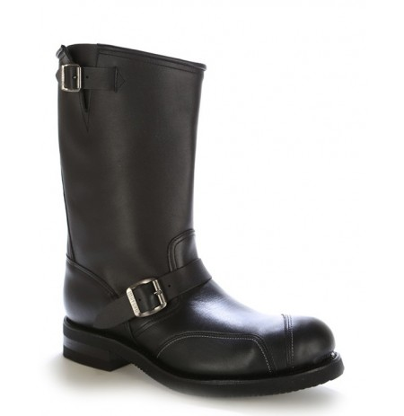 Black leather bike boots