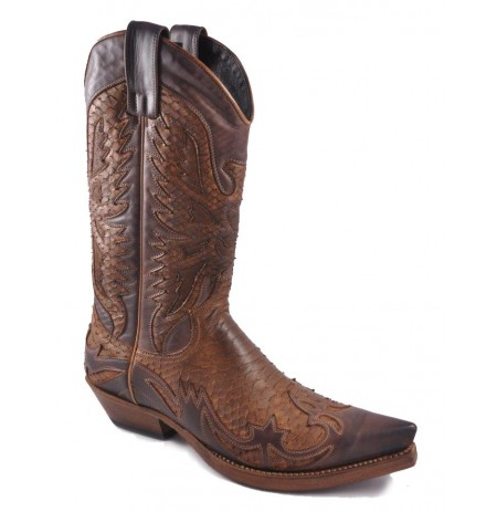 Two-coloured brown and cognac leather mexican cowboy boots