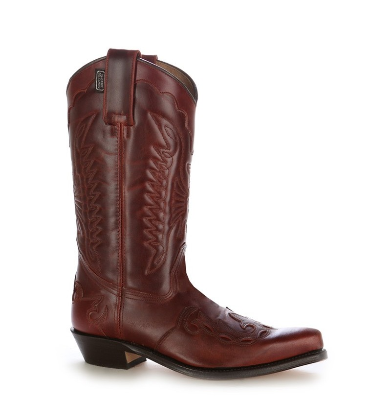 unisex burgundy cowboy boots with mexican stitching