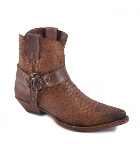 Black and grey snake and leather cowboy ankle boots