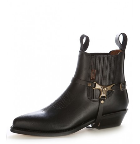 Black leather cowboy ankle boots buffalo bridle