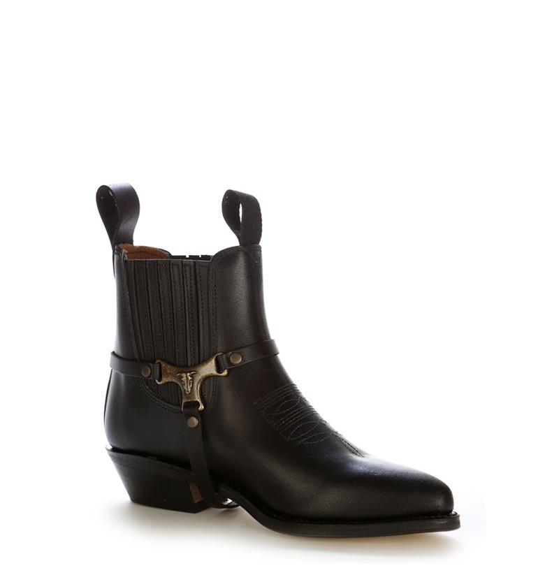 leather black ankle boots with buffalo buckle cowboy leather ankle boots. Black Bedroom Furniture Sets. Home Design Ideas
