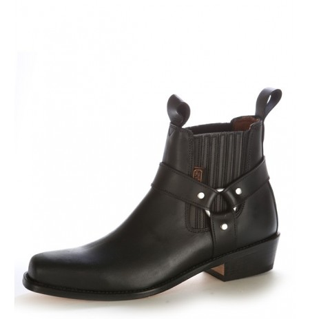 Black leather cowboy ankle boots with bridles