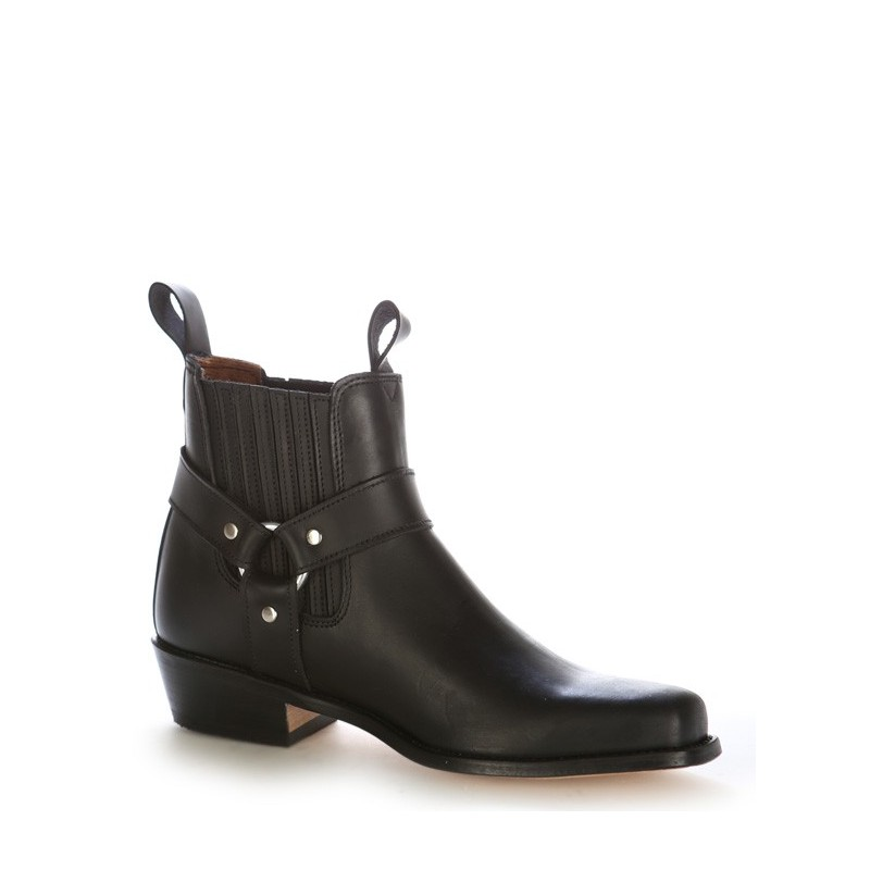 leather black western ankle boot black leather country