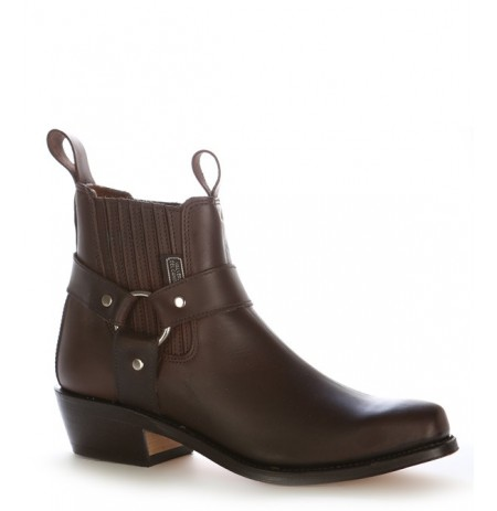 Brown leather cowboy ankle boots with bridles