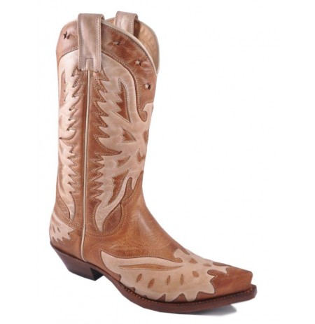 Cognac and brown leather mexican cowboy boots