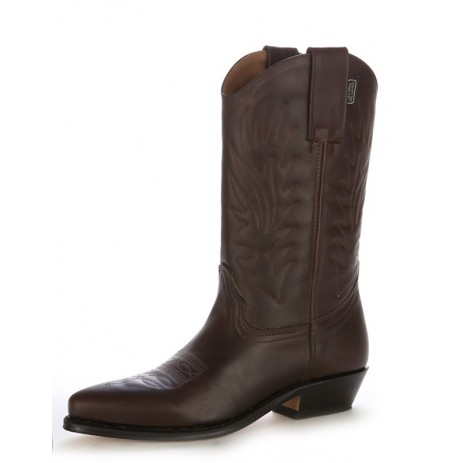 Brown leather Mexican cowboy boots