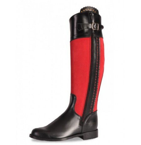 Custom-made black and red leather riding boots for women
