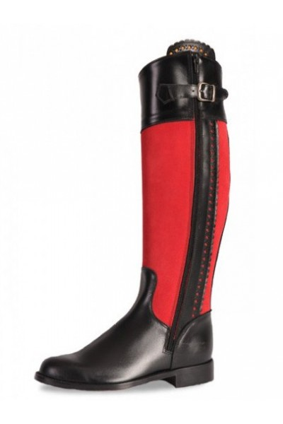 RED AND BLACK MADE TO MEASURE RIDING BOOTS Personalized red ...