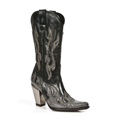 Black leather and grey snake heeled cowboy boots for women