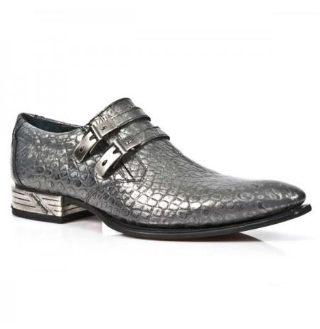 Silver crocodile formal shoes for men