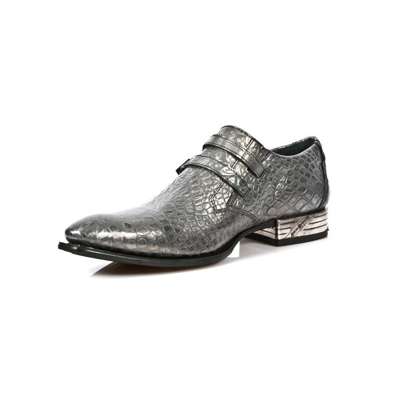 silver crocodile leather loafers with pointed tips grey