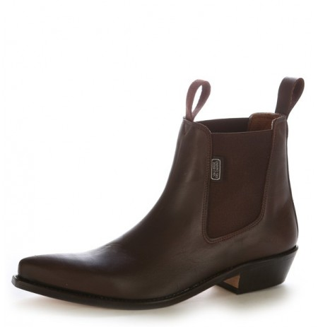 Brown leather cowboy ankle boots with tongue