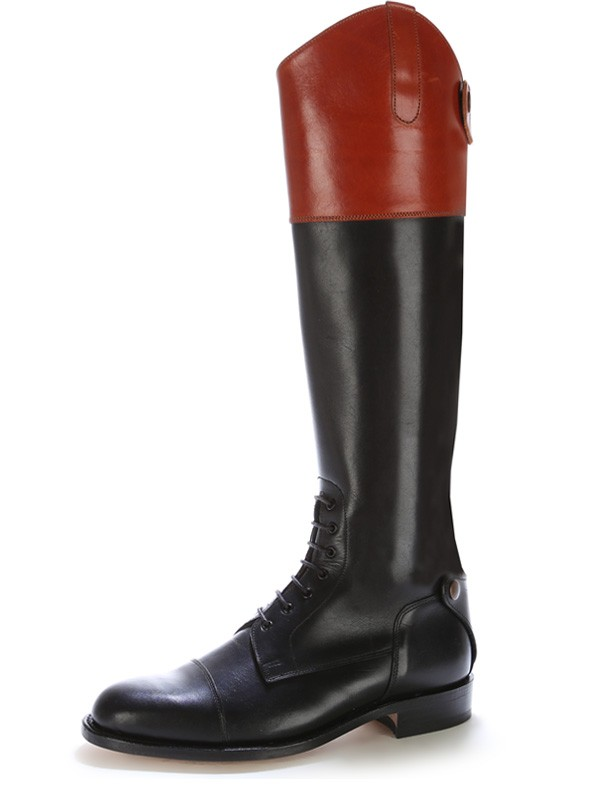 Black and burgundy leather horse riding boots with laces Horse ...