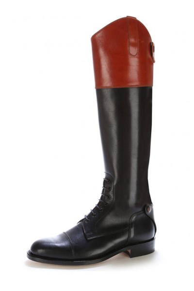 Black & burgundy made to measure riding boots with laces Leather ...
