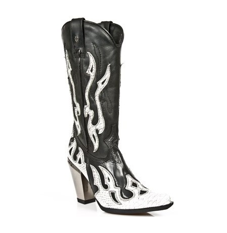 Black leather and white snake heeled cowboy boots for women ...