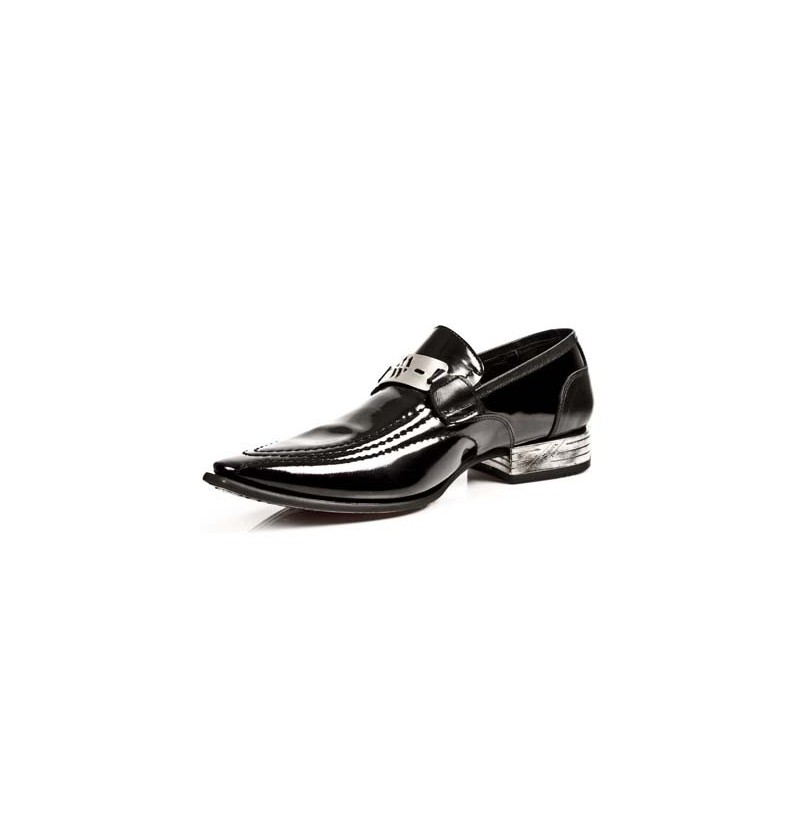 black patent leather loafers with steel heels shiny black
