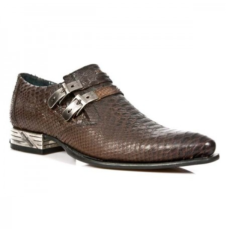 Brown snake leather shoes for men