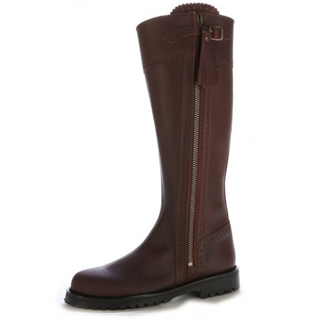 Brown leather hunting boots