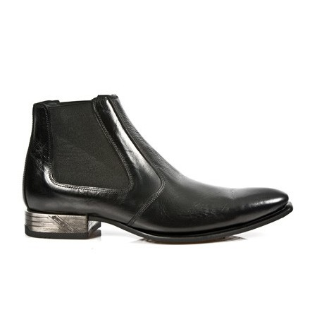 Black leather ankle boots for men with elastic bands and steel heel