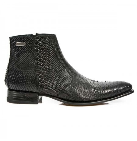 Black snake ankle boots for men