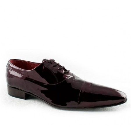 Maroon patent leather shoes for men