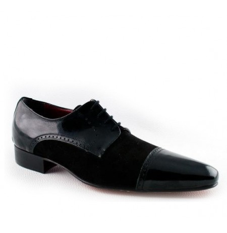 Black patent leather and suede shoes for men