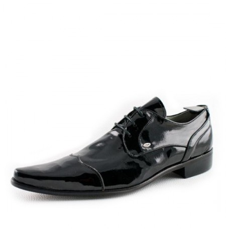 Black patent leather shoes for men with laces