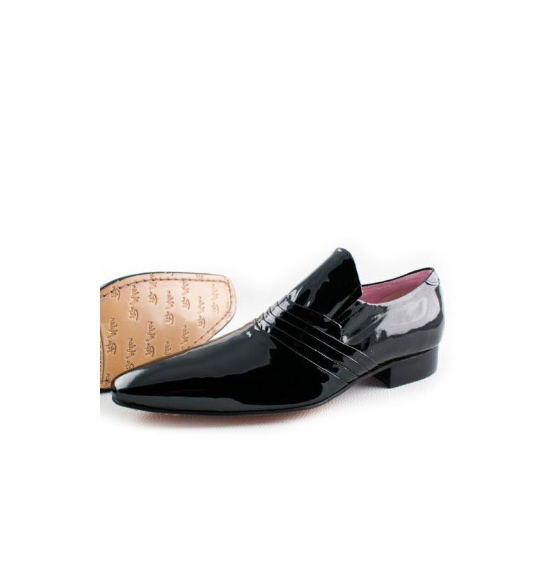 quality leather grooms shoes black varnished leather