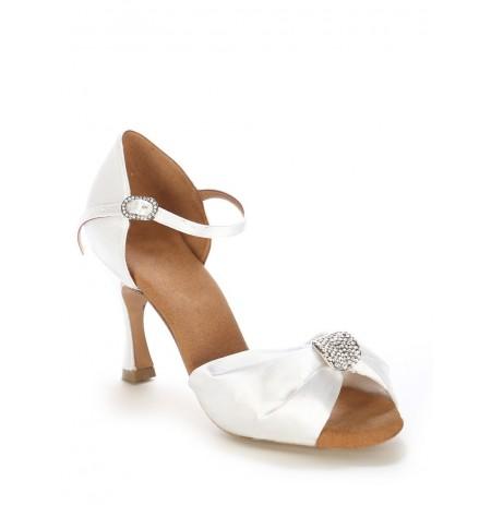 Elegant white draped bridal shoes