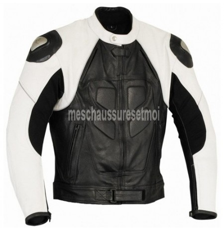 Custom made black and white leather motorbike coat
