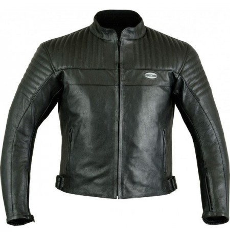 Black leather bike jacket with titanium armours