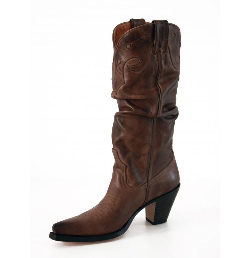 Leather brown cowboy boots Ladies brown western style boots