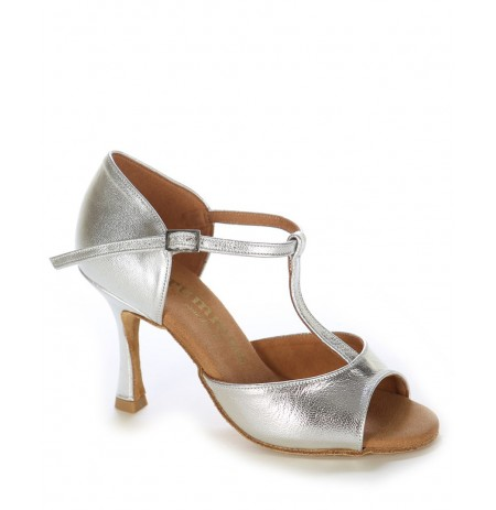 Elegant silver leather sandal heels
