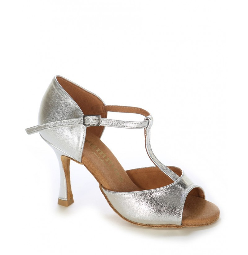 Comfortable silver evening heels QUALITY SILVER LEATHER T-STRAP HEELS